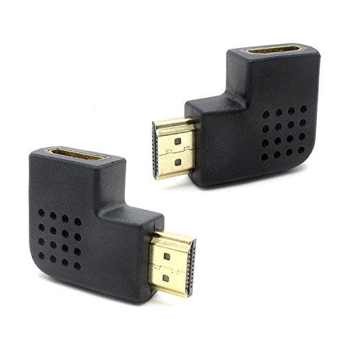 ubest HDMI Adapter Winkel Set (270° und 90 Grad HDMI Stecker) | VERGOLDETE Kontakte | 1080p Full HD | Schwarz