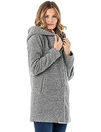Sublevel Damen Winter-Mantel mit Kapuze aus Woll-Mix