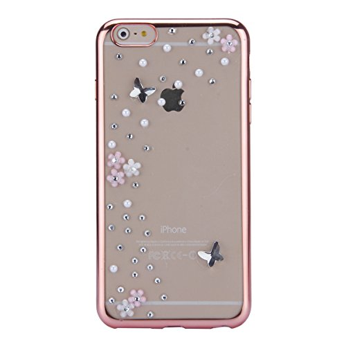 iPhone 6 Plus Hülle,iPhone 6s Plus Case,iPhone 6 Plus Bling Case - Felfy Ultradünne Transparent Gel TPU Silikon Diamond Skin Bling Glitte Kristall Schutzfolie Glitzer Silber Silikon Crystal Case Durch C03