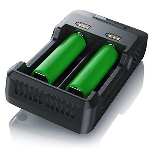 CSL - Akku Ladegerät mit USB Kabel | Universale Akku Ladestation Recharger | intelligente Mikroprozessorgesteuerte Ladetechnologie | für NI-MH NI-Cd Li-ion