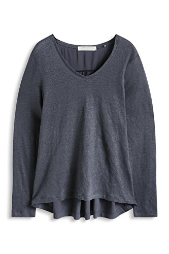 ESPRIT im Materialmix-T-shirt Donna, Grau (DARK GREY 020)