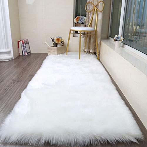 Cumay faux tappetto di pelle di pecora tappeto, imitazione lana, adatto per tappeto per soggiorno, lunga pelliccia morbida, soffice, tappetino per il letto, divano (bianco, 70x135cm)