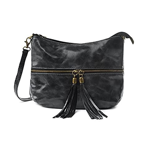 Almo 10.3x6.7 Inches Black Color Woman Small Zip-Top Cross Body Bag In Genuine Leather With A Pair Of Oversized Tassels