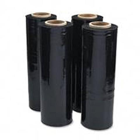 1große Rolle von schwarz Palette Stretch Wrap–Größe je 400mm breit x 200m–Standard Core 17Mikron Sicherheit blickdichtem Kunststoff PE (Schwarz Opaque Stretch Film)