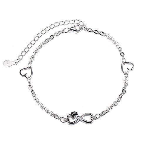 Damen Armband Unendliche Liebe Herz Armbänder 925er Sterling Silber Welpenhunde Pfote Schmuck Armband für Damen