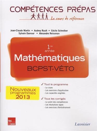 Mathématiques 1re année BCPST-VETO