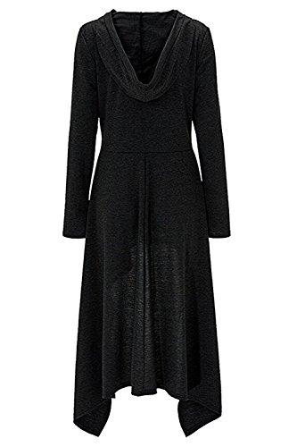 Issza Donna Vestito Asimmetrico Felpa con Cappuccio Manica Lunga Elegante Casual Pullover Nero