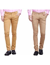 Nimegh Wine And Beige Color Cotton Casual Slim Fit Trouser For Men's (Pack Of 2)