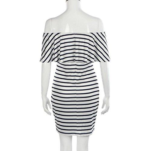 Tefamore Damen Falbala Slash Neck Gestreiftes Kleid Bodycon Mini Kleider Weiß