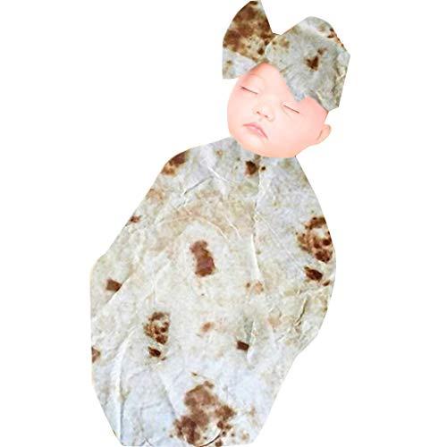 Alwayswin Burrito Decke Baby Mehl Tortilla Wickeldecke Sleeping Swaddle Wrap Sets Bequem Weich Babytasche Handtuch, Handtuch, Umarmung, Schlafsack, Haarband, Zweiteiliger Anzug