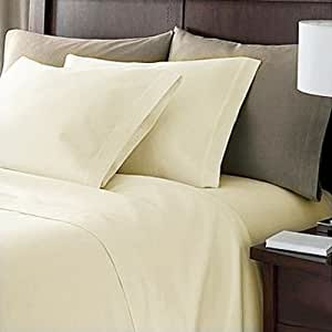 Linens Limited 100% Egyptian Cotton 200 Thread Count Duvet Cover, Cream, Super King