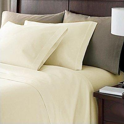 Ägyptische Baumwolle Vorhang (100% Ägyptische Baumwolle Spannbetttuch ca. 180x200 200 Faden Creme EDEL)