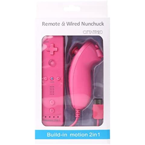 CITTATREND Wired Nunchuck + Wireless Remote Controller con Motion Plus