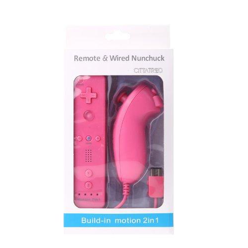 2 in 1 WII Remote Nunchuk Controller, CITTATREND WII Motion plus Fernbedienung mit Silicon Hülle für Nintendo Wii (Rosa) (Plus Remote Pink Wii)