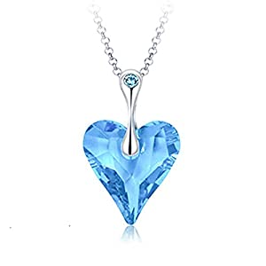 Yellow Chimes Crystals from Swarovski Big Blue Ocean Heart Pendant for Women and Girls