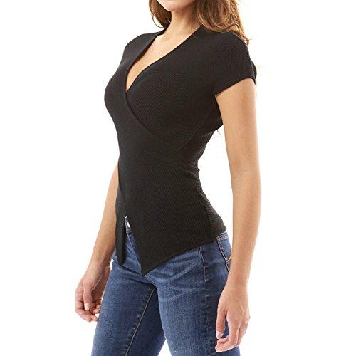 Hibote T-Shirt Femme Fille Manches Courtes Épaule Nu Casual Chemise Blouse Top Noir