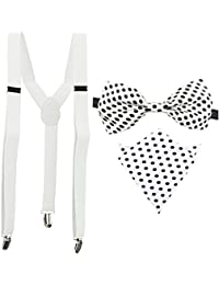 White Y-Back Suspender With Bow Tie & Pocket Square Combo For Men