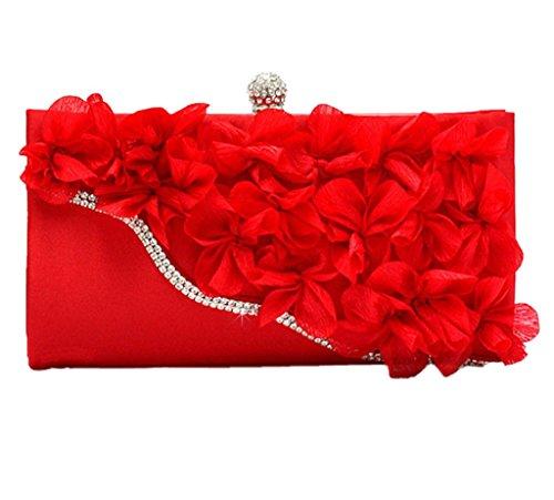 Damen Blume Muster Perlen Abend Staubbeutel, Pink - rose - Größe: rot