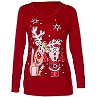 HWTOP Damen Oberteil Hemd Pullover Sweatshirt Tops Shirt Weihnachten Langarmshirt Elch Drucken Frauen Festival Langärmelige Lose Blumenbluse Langarm Bluse