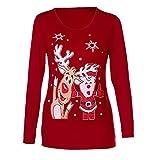 1d771bc15e86 MYMYG Jumper Suéter/Jersey Navideño de Cuello Redondo para Mujer Blusa  Christmas Xmas impresión O-Cuello Manga Larga Camisa para OtoñO Invierno  Pullover ...