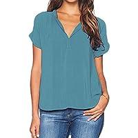 Kinlene Damas para Mujer Verano con Cuello en V Camisetas Casual Tops Sueltos Blusa Camiseta