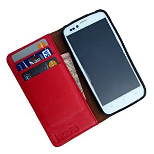 i-KitPit Genuine Leather Wallet Flip Case For Micromax Unite 2 A106 (RED)