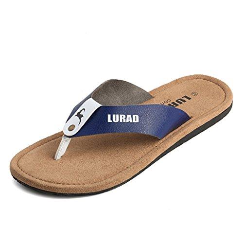 ALUK- Sandales d'été - Pantoufles d'hommes avec l'Europe et les États-Unis Tendance de chaussures de plage ( Couleur : Bleu , taille : 43 ) Bleu
