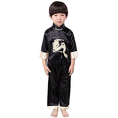 YueLian Unisexo Trajes de China para Niños Niñas Dragón Bordado Artes Marciales Kung Fu Disfraz Infantil un Conjunto Negro (talla: 12)
