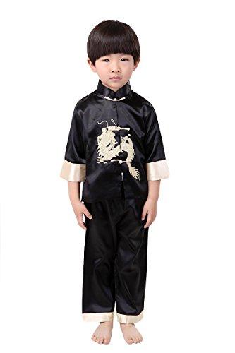 YueLian Unisexo Trajes de China para Niños Niñas Dragón Bordado Artes Marciales Kung Fu Disfraz Infantil un Conjunto Negro (talla: 4)
