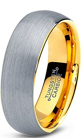 Tungsten Wedding Band Ring 7mm for Men Women Comfort Fit 18K Yellow Gold Plated Domed Brushed Lifetime Guarantee Size V 1/2
