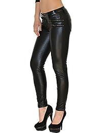 d558e9231be8d1 ESRA Damen Lederhose Damen Hose Skinny in Leder Optik Aktuelle Farben und  Designs H12