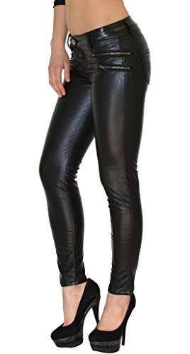 by-tex Pantalon femme Jean femmes slim pantalon en cuir pour femmes cuir simili pantalon H12 H18