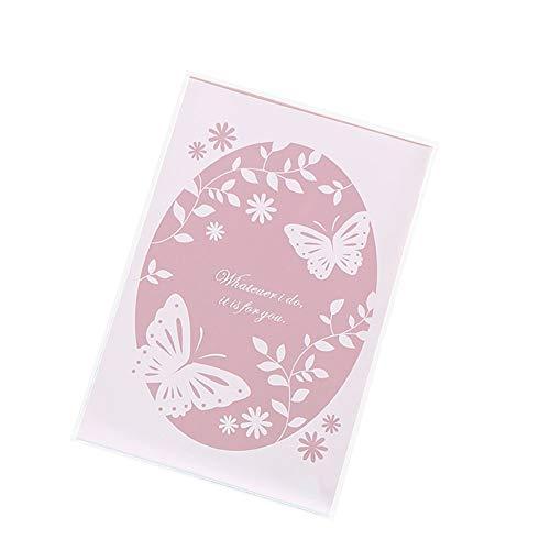 MoGist Lot de 100 sachets Auto-adhésifs en Forme de cœur avec Motif Papillon Rose, Motif Papillons, 13x19cm+4cm