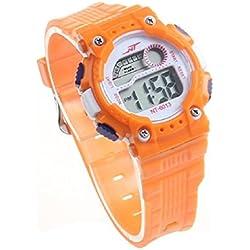Atdoshop Mens Boy Date Alarm Stopwatch Sports LED Digital Rubber Wrist Watch Orange