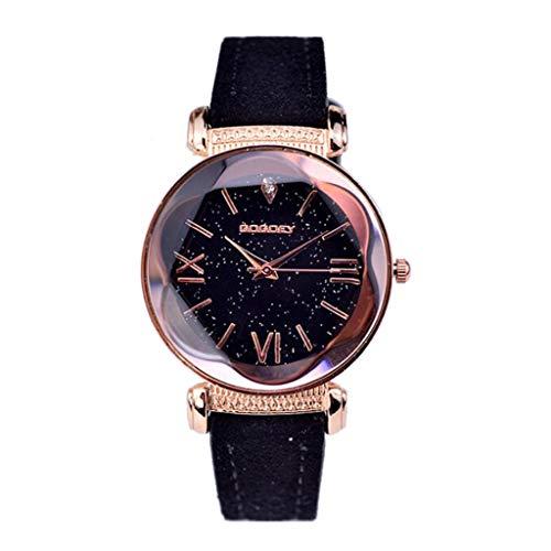 Luckhome Damenuhr Armbanduhr Uhren Analog Quarz Leder Datum Business Fashion Klassischen Casual Kleid Mode Damen Classic Uhr Dame Simulierte Klassische Beiläufige Frauenuhr(Schwarz)