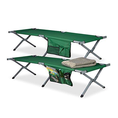 Relaxdays 10023461_53 brandina pieghevole xl set da 2, in poliestere lettino da campeggio ultra alto hlp: 190x64x43 cm, custodia, verde