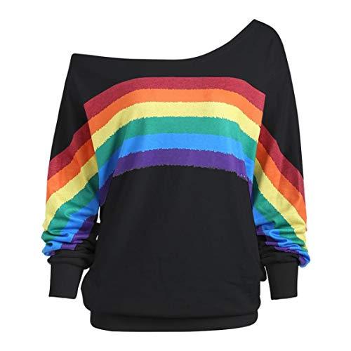 ABsoar Sweatshirt Frauen Beiläufige Pullover Lange Hülsen Shirts Regenbogen Feder Drucken Blusen Trägerlose Pulli