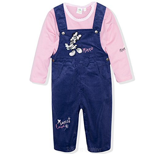 Disney Minnie Mouse Baby Girls Corduroy Outfit Set Dungarees + Long Sleeve Top T-Shirt - Navy 18
