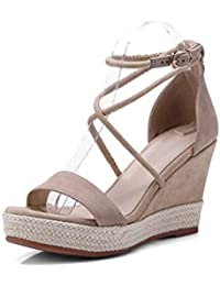 Albaricoque de 9 cm, sandalias de cuña de paja, tacones elásticos abiertos de verano, bolsa de plataforma impermeable...