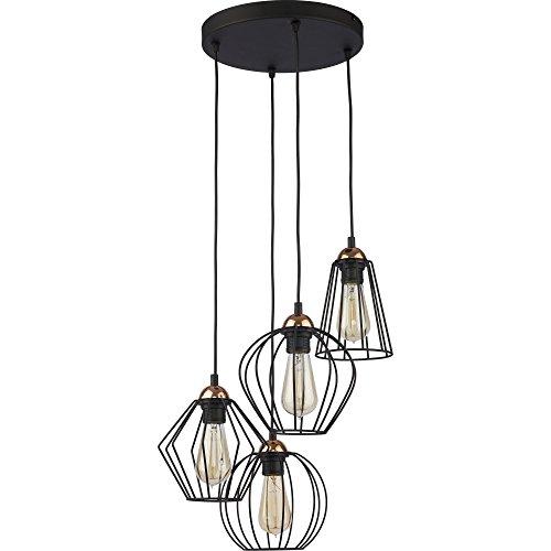 Hänge Lampe Wohnzimmer Leuchte Käfig Hängelampe Retro Schwarz 46 cm (Modell IV)