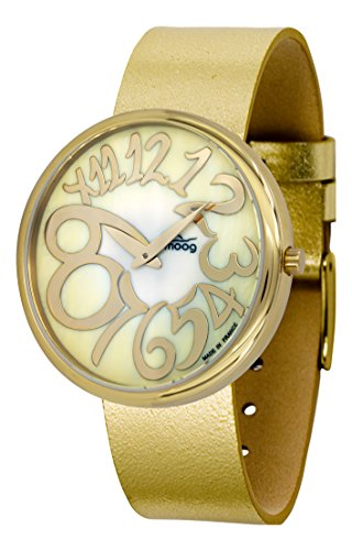 Moog Paris Ronde Art-Deco Women's Watch with Gold Mother of Pearl Dial, Gold Strap in Genuine Leather - M41671-F32