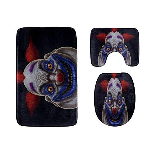Evil Scary Clown Monster Badteppich-Matten-Set 3-teilige, weiche Duschbadeteppiche, Umrissmatte und WC-Sitzdeckelabdeckung Rutschfeste maschinenwaschbare Flanell-WC-Teppiche