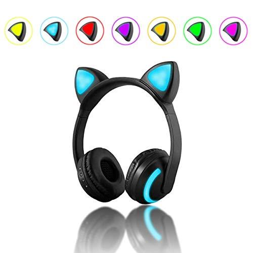 HaiQianXin Katze Ohr Bluetooth 4.2 Kopfhörer LED Wireless Stereo Blinkt Glowing Headset Gaming Kopfhörer Weihnachtsgeschenk für Erwachsene kind 04 Stereo