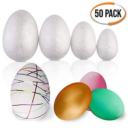 Confezione da 50 pezzi - Grande assortimento di uova di Pasqua in polistirolo - Varietà di formati - Regalo pasquale ideale per i bambini per tagliare, modellare e dipingere, decorazione