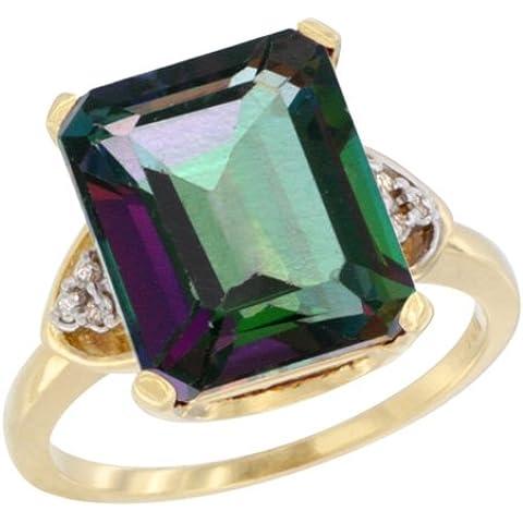 Revoni-Catenina con pendente con diamante in oro giallo 9 k, con smeraldo naturale, effetto mistico, a forma di anello, 12 x 10 pezzi, 5,4 ct pietra, 1/2 taglie J-T - Topaz 10 Pezzo