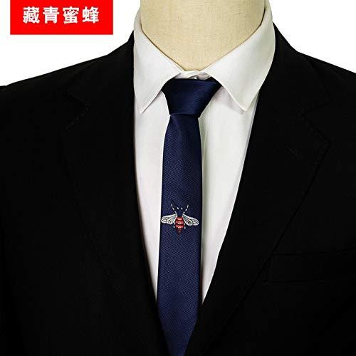 LFLJIE Männer Persönlichkeit Tiere Cartoon-Muster Rot Blau Grau Reine Farbe Krawatte Schmale Männer Krawatte für Anlässe Blaue Biene -