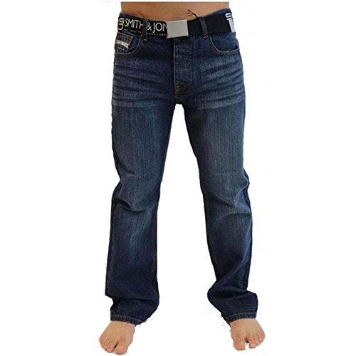 Smith & Jones Mens Neue Enrico Bootcut Leg Jeans Darkwash Aussehen Darkwash