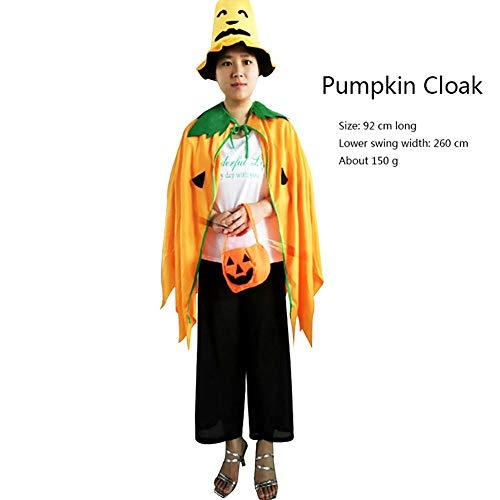 Forart Halloween Kostüm Cosplay Kürbis Mantel Mantel mit Hut Kürbis Beutel Set