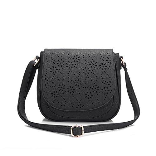 Realer Pochettes et sacs à main creux Out Design Saddle Portefeuille pour Femmes Filles avec bracelet en cuir Noir