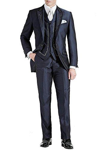 Suit Me Lang Herren Anzug 3 Teiler Stickerei Sakko Hose Weste Party Hochzeit Wedding Suits Tuxedos Blau XL